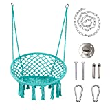 """LAZZO Round Hammock Chair with Hanging kit, Hanging Knitted Mesh Cotton Rope Macrame Swing, 260 Pounds Capacity, 23.6"""" Seat Width,for Bedroom, Outdoors, Garden, Patio, Yard. Child, Girl, Adult (Blue)"""