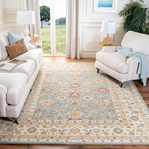 Safavieh Antiquities Collection AT822A Handmade Traditional Oriental Grey Blue and Beige Wool Area Rug (9' x 12') (Rugs Green Wool)