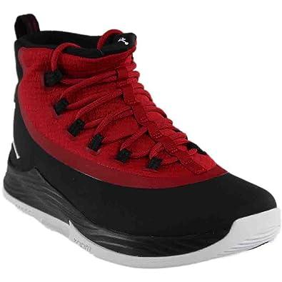 69e385547c5 Nike Mens JR Ultra Fly Basketball Shoe Black White-Gym Red 11.5