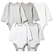 Moon and Back Baby Set of 5 Organic Long-Sleeve Bodysuits, Grey Heather, 3-6 Months