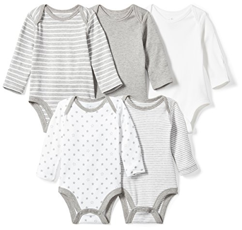 (Moon and Back Baby Set of 5 Organic Long-Sleeve Bodysuits, Grey Heather, 18 Months)