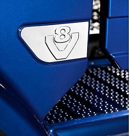 2 x acero inoxidable ala V8 decoración espejo pulido accesorio para Scania R V8 decoración alas