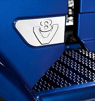 2 x acero inoxidable ala V8 decoración espejo pulido accesorio para Scania R V8 decoración alas: Amazon.es: Coche y moto