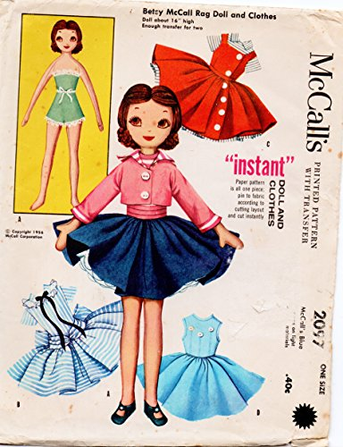 McCall's 2097 Betsy McCall Rag Doll and Clothes Sewing Pattern Vintage 1954