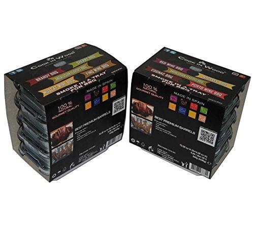 virutas de madera de roble para ahumar Vino tinto-Whisky-Andaluces-Coñac-Porto/Smoking chips with a BBQ tray 5x90g: Amazon.es: Hogar