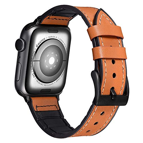 Karei Hybrid Rubber Leather Sports Band Compatible with Apple Watch Bands SweatProof Silicone Vintage Replacement Wristband Straps iwatch Series 4 44mm,Series 1 2 3 42mm (Bright Brown, 44mm/42mm)