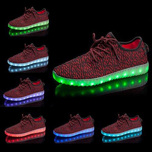 Shinmax LED Schuhe, 7 Farbe USB Aufladen LED Leuchtend Sport Schuhe Sportschuhe LED Sneaker Turnschuhe Für Unisex-Erwachsene Herren Damen mit CE-Zertifikat Rot