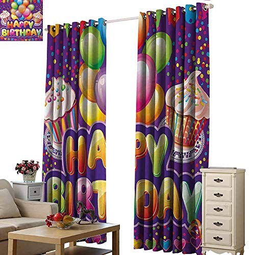 Room Darkening Wide Curtains Birthday Purple Colored Backdrop with Creamy Cupcakes Hearts Confetti Rain and Balloons Blackout Draperies for Bedroom Living Room W96 xL72 Multicolor