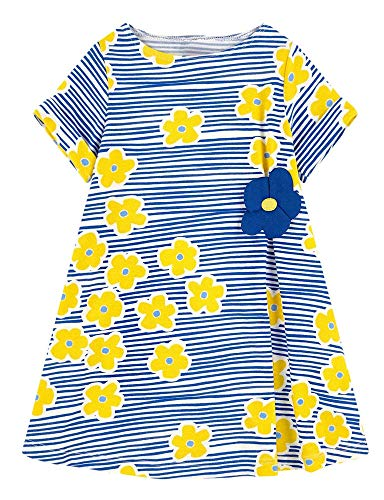 Girls Dresses Summer Casual Toddler 100% Cotton Stripe Flower Dress Short Sleeves Unicorn Gifts for Kids Aged 1-8 Years