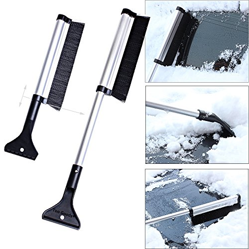 Extendable Telescoping Snow Brush 2-in-1 Retractable Ice Scraper Multifunctional Snow Shovel Tool For Car Windshield Cleaning & Winter Deicing (A)