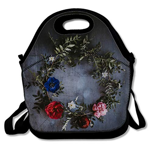 Thermos Element 5 Food Jar - Adult Lunch Box Insulated Lunch Bag Flowers Circle Tote Bag for Men,Women