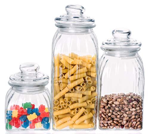 Exclusive Line Ripple Food Storage Glass Jar Canister with Airtight Lid, 64.2 Ounces, 47.5 Ounces, 23.7 Ounces - 3-Piece ()