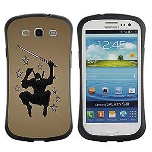 Fuerte Suave TPU GEL Caso Carcasa de Protección Funda para Samsung Galaxy S3 I9300 / Business Style Ninja Star Warrior