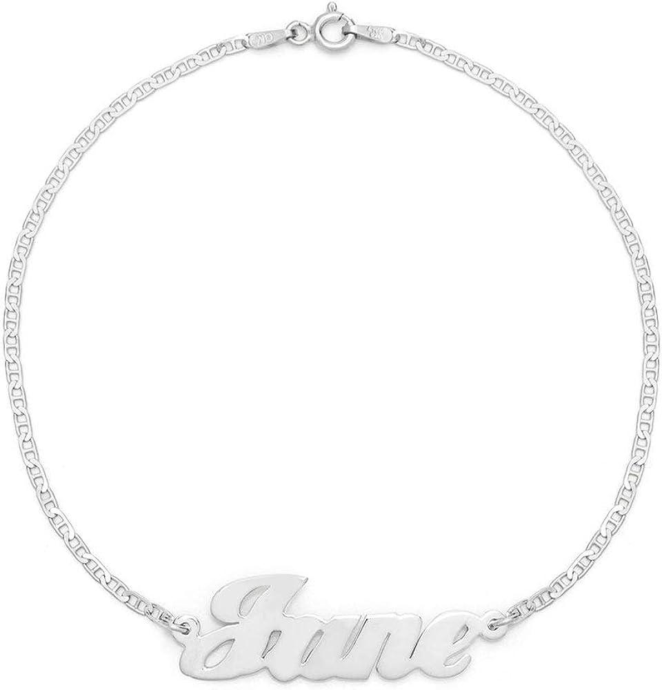 Sterling Silver Custom Nameplate Anklet