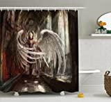 Ambesonne Fantasy House Decor Collection, Cyborg Angel Girl Warrior with Sword in Gothic Ancient Historical Architecture , Polyester Fabric Bathroom Shower Curtain, 84 Inches Extra Long, Brown White