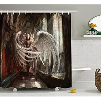Ambesonne Fantasy House Decor Collection, Cyborg Angel Girl Warrior With  Sword In Gothic Ancient Historical