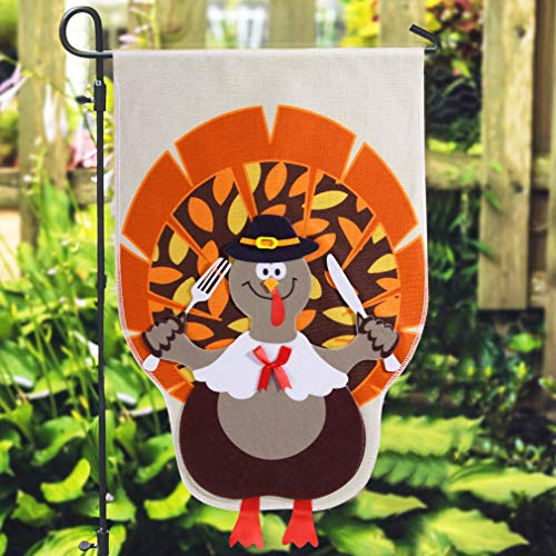 Unomor Thanksgiving Flag Decoration Outdoor Garden, Gobble Turkey Flag Party Supplies