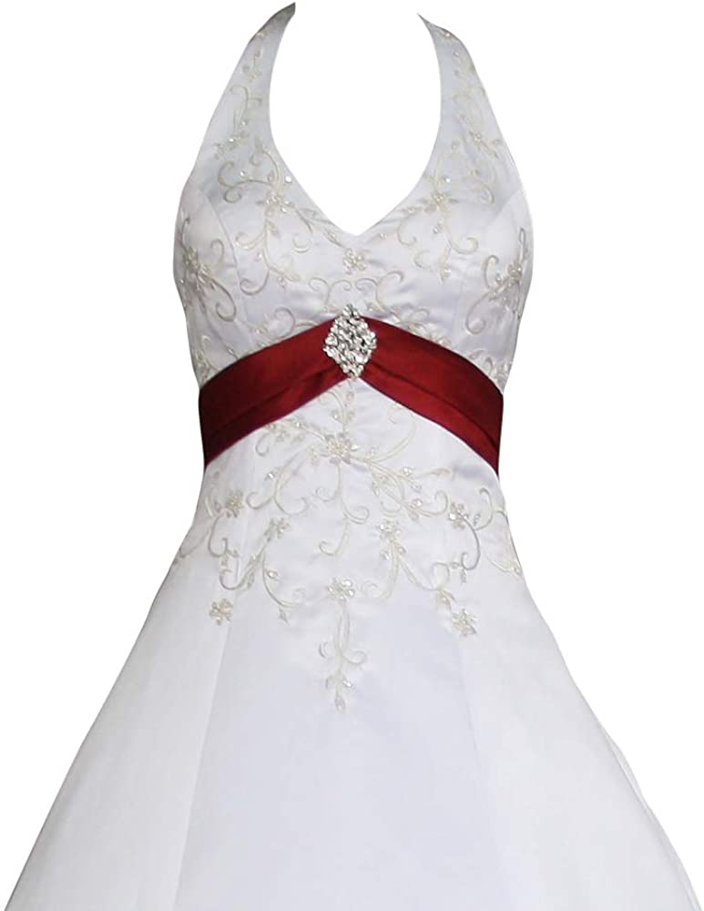 Romantic-Fashion Brautkleid Hochzeitskleid Wei/ß//Bordeaux Modell W085 A-Linie Satin Stickerei Zweifarbig DE