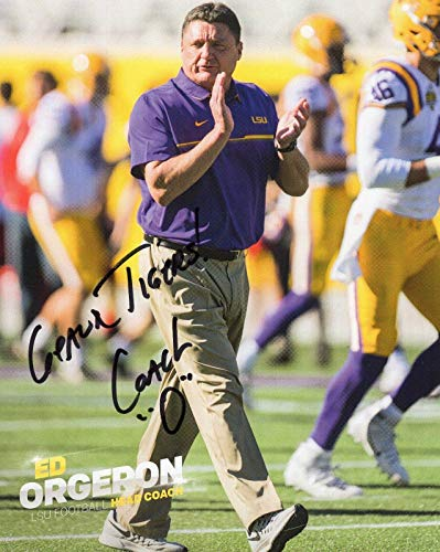 Autographed Ed Photo 8x10 - Autographed Ed Orgeron Photo - 8x10 COLOR +COA FOOTBALL COACH - Autographed College Photos