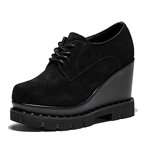 Women's Modren Black Shoes Suede and Leather Bottom Synthetic Slope Documentary Oxfords Thickness Fashion rnaw8X7qr