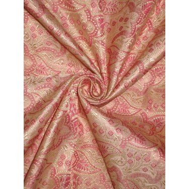 (SILK BROCADE FABRIC Gold,Pink & Baby Pink colour 44 By the)