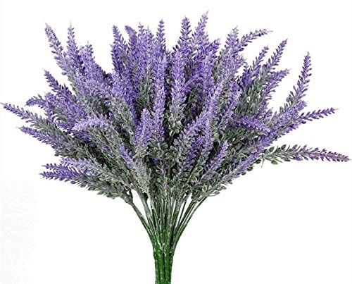 8pcs Artificial Flocked Lavender Bouquet, DIY Bridle Flowers Arrangements Home Kitchen Garden Office Wedding Decor Floral, Fake Outdoor Plants -