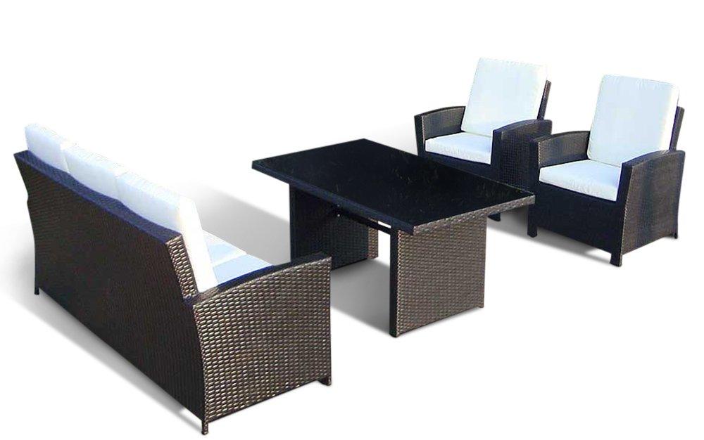 Lounge Rattan - AVIGNON | 6 cm Polster (Schwarz)