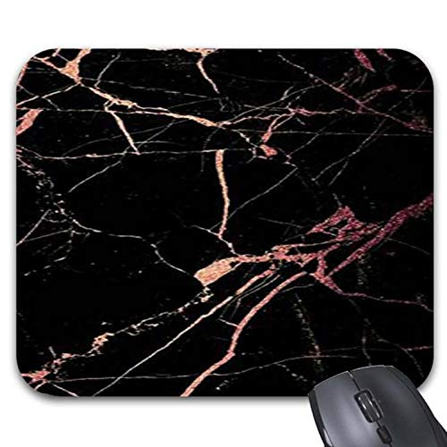 Rose Gold and Black Marble Mouse Pads - Stylish Office Accessories (11.89 x 9.86in) by Julyou
