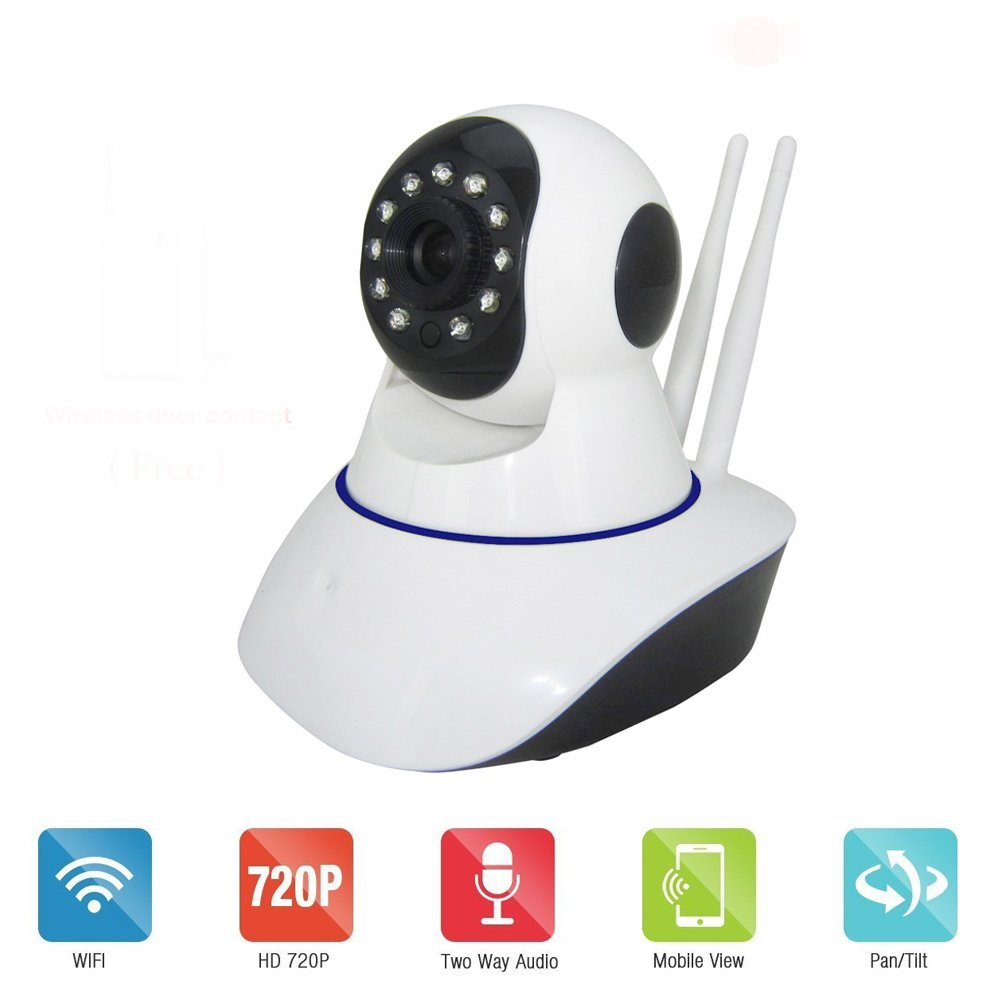 Bawofu 720P Smart Wireless IP Camera W/ Door/Window Sensor System Night Vision 2 Way Audio Motion Detection Email Alert Record to SD Card Remote View Via Smartphone/Tablet/PC