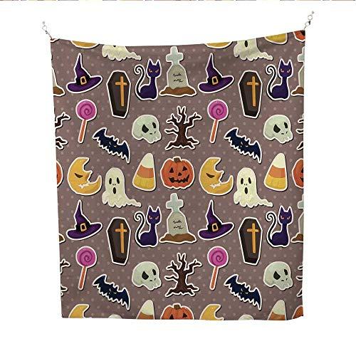 25 Home Decor Mandela Tapestries Cartoon Halloween Seamless Pattern Gray Tapestries 51W x 60L -
