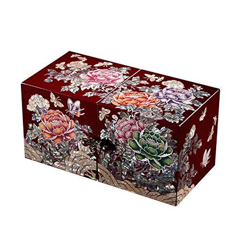 HAIHF Jewellery Box,Hand painted Lacquered Jewellery Box with Butterfly & Flower Artwork,Wooden Girls Jewellery Mirror Case Trinket Keepsake Treasure ()