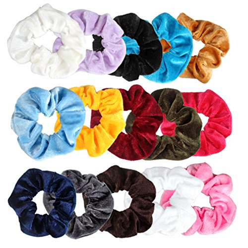 Yellow Scrunchie (Ondder 15 Pack Velvet Scrunchies Hair Bobble Elastics Hair Scrunchy Hair Bands Headbands Women Scrunchies Bobbles Hair Ties, 15 Colors)