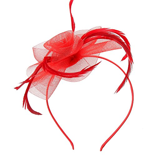 (Acecharming Fascinators for Women, Feather Sinamay Fascinators with Headbands Tea Party Pillbox Hat Flower Derby Hats(Red))
