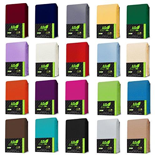 JERSEY Spannbettlaken Baumwolle Spannbetttuch in Farbe: Türkis, Größe: 90 x 190 cm - 100 x 200 cm