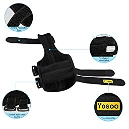 Yosoo Thumb Splint Adjustable Neoprene Hand Thumb Brace Stabilizer Guard Spica Support Your Finger for Arthritis Tendonitis Sprained Thumb Symptoms Broken Hyperextended Thumb, One Size, Unisex, Black