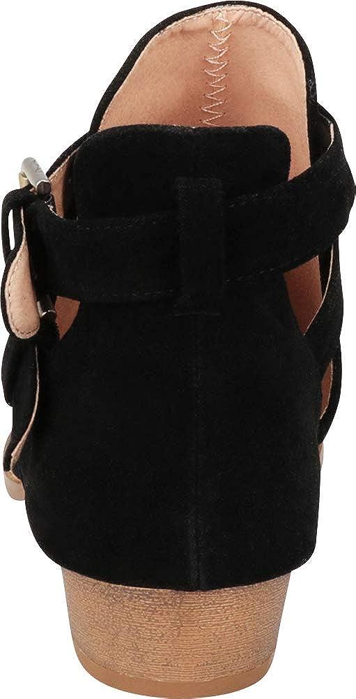 US, Black IMSU Cambridge Select Womens Western Cutout Strappy Buckle Low Heel Ankle Bootie 9 B M
