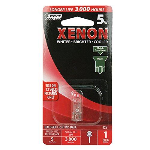 Feit Electric BP5XN-12 12-Volt 5-Watt T-5 Wedge Base Xenon light Bulb, 3000K, Bright White Replacement Bulb