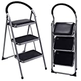 GHP 220-Lbs Capacity Black Non-Slip 3-Step Ladder Folding Stool with Rubber Pads