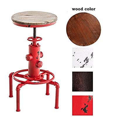 Diwhy Industrial Design Antique Metal Adjustable Height Bar Stool fire hydrant design Bar Chair Kitchen Dining Breakfast Chair Natural Pinewood Stool