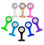 Set of 8pcs Brooches / Fob / Pocket Nurses Watches In Infections Control Silicone Hygienic Covers