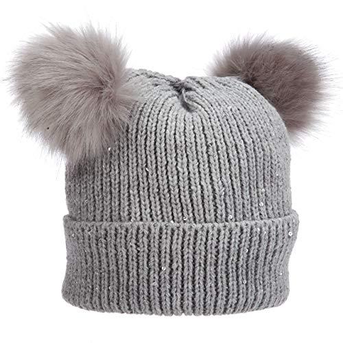 Pronto Cuff Cap Sexy Sequins Faux Poms Ears Winter Warm (LK189) (Grey)