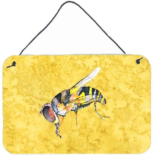 Multicolor Carolines Treasures 8851DS812 Bee on Yellow Aluminum Metal Wall or Door Hanging Prints 8 x 12