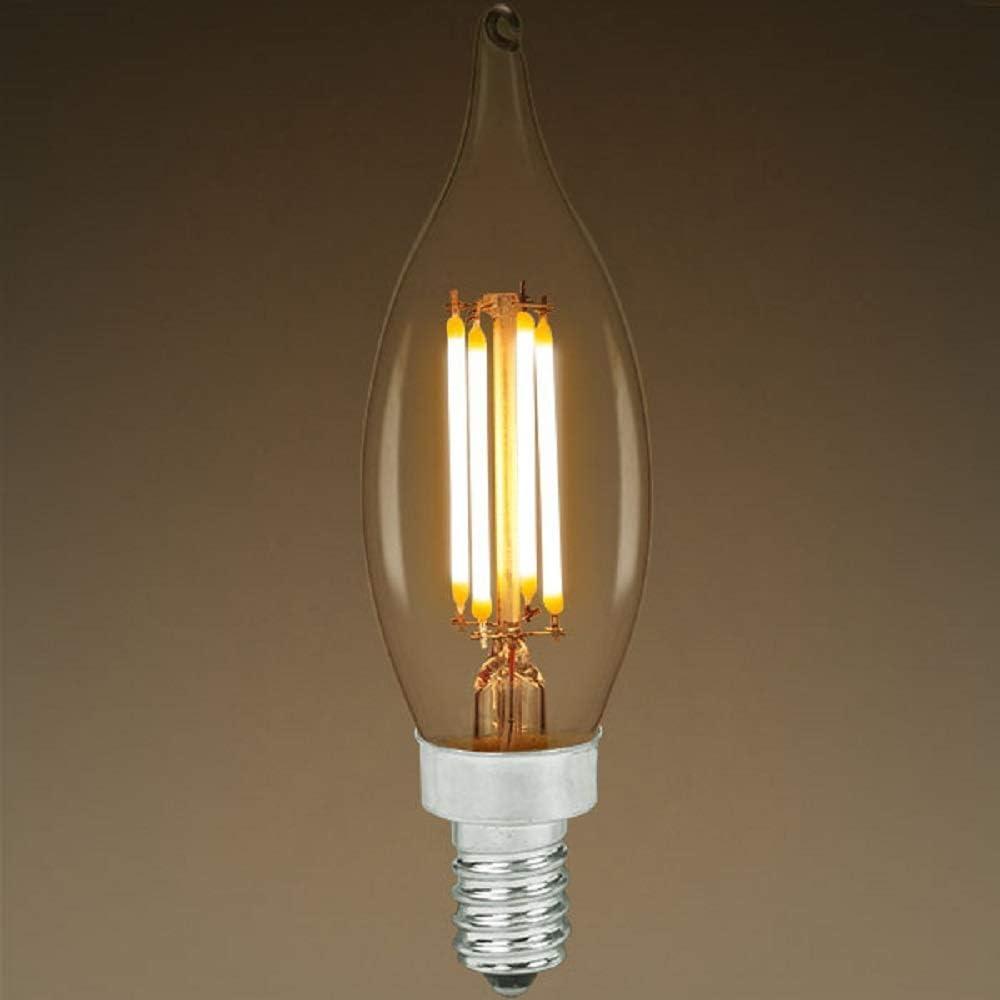 Dimmable LED Chandelier Bulb Bent Tip 2700 Kelvin Clear Vertical Filament 120V Bulbrite 776859 4.5 Watt 350 Lumens 40W Equal Candelabra Base