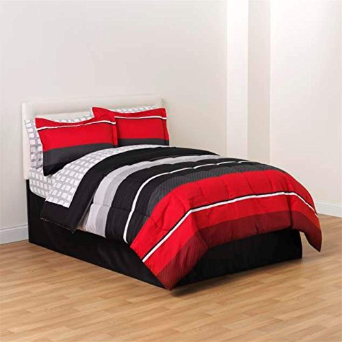 Red Black White Gray Rugby Boys Full Comforter, Skirt and Sheet Bedding Set (8 Piece Bed in a Bag)