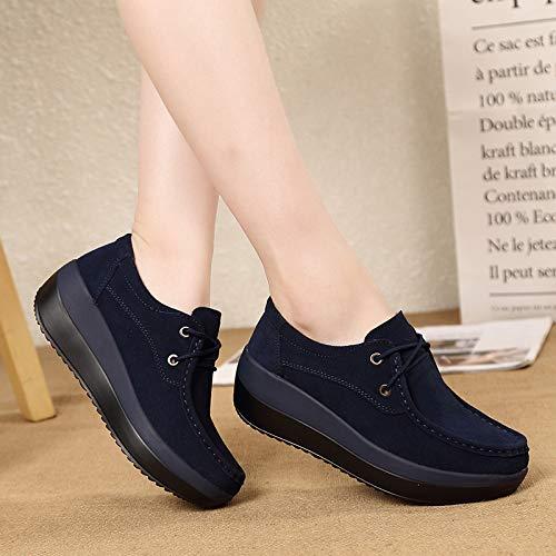 Platform Eu Mocassini colore 39 Grigio Leather Sole Donna Rocker Shoes Dimensione Lace Blu Qiusa Up w7aIqZna