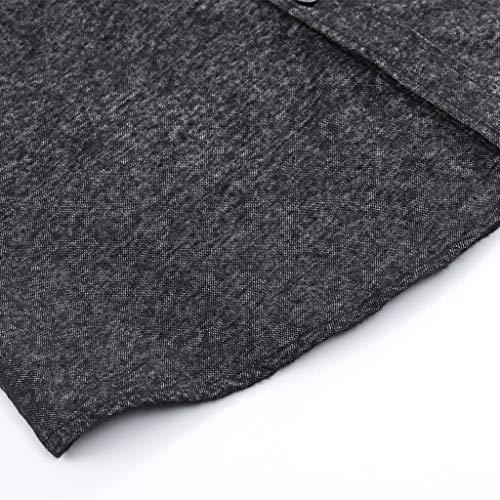 Pocket Aderente Camicia Semplice Lunga Casuale Autunno Inverno Top Button Cottons Manica Sanfashion Nero Uomo 7wBqUw6I