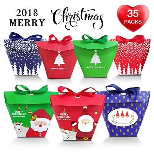 Christmas Candy Boxes, Astarry 35 Pieces Colorful Christmas Cookie Candy Gift Boxes Gift Packaging Treat Paper Box with Ribbon Party Dessert Bags Party Favor Bags in Various - Colorful Gift Box