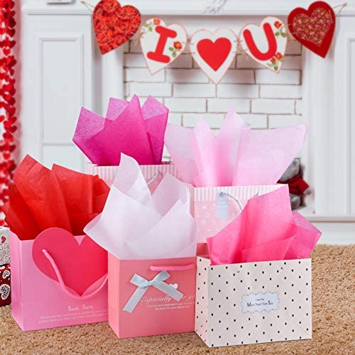 CHRORINE 50 Sheets Valentine's Day Tissue Paper Multicolor Wrapping Paper for Valentine's Day, Wedding DIY and Craft