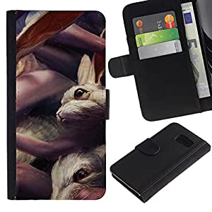 LECELL--Cuero de la tarjeta la carpeta del tirón Smartphone Slots Protección Holder For Samsung Galaxy S6 -- Conejos lindos --