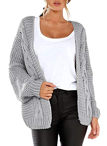 Dokotoo Womens Oversized Fashion 2019 Solid Winter Fall Thin Cozy Open Front Long Sleeve Chunky Cable Knitting Ribbed Cardigan Sweater Coat Outerwear Grey Small